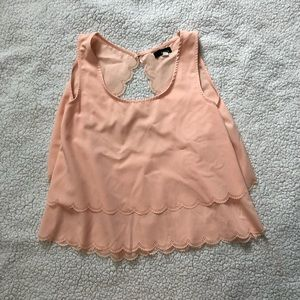 Peach tank top with cut out back
